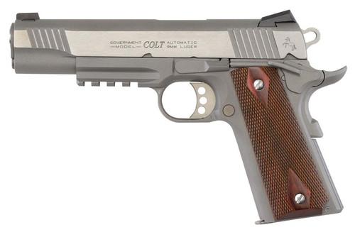"Colt XSE Rail Gun Govt 5"" Barrel 9mm SS Finish Noval Sights"