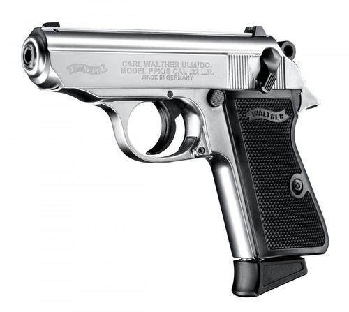 "Walther PPK/S .22 L.R. 3"" Barrel Nickel 10 Round, 1 Mag"