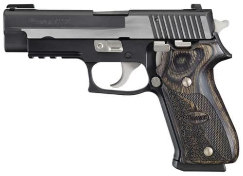 Sig P220 45 ACP 4.4In Equinox 2-Tone Da/Sa TFO Front/Siglite Rear Blackwood Grip (2) 8RD Steel MAG CA Compliant