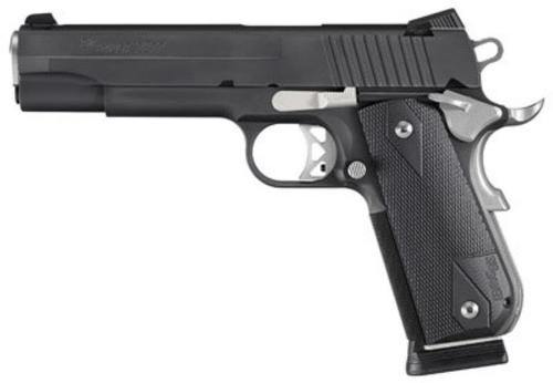 "Sig 1911 45 ACP, 5"" Barrel, Nightmare Black SAO Siglite Black G10 Grip (2) 8RD Steel MAG Fastback"