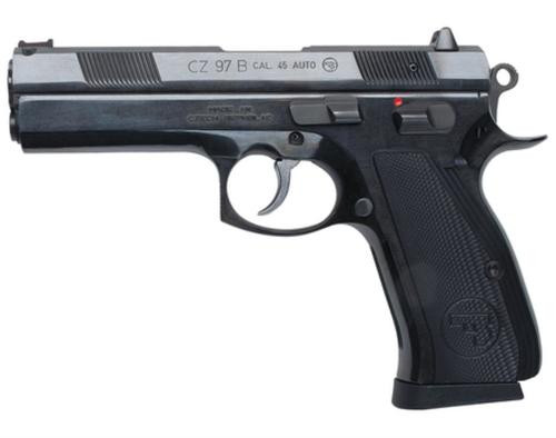 "CZ, 97 B Full Size, 45 ACP, 4.65"" Barrel, Steel Frame, Aluminum Grips, Fiber Optic Front Sight, 2 Magazines, 10rd Mag"