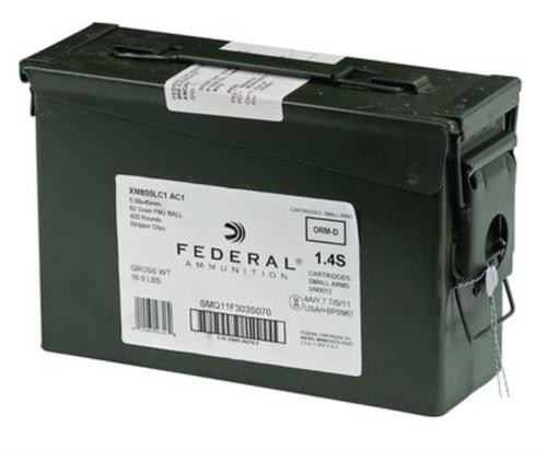 Federal, XM855, 556NATO, 62gr, Full Metal Jacket, 420 Rounds on Stripper Clips in Ammunition Can