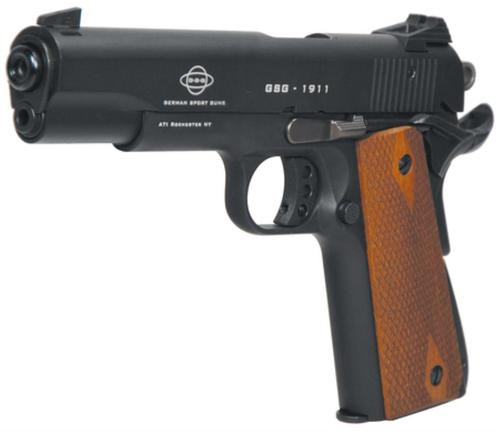 "American Tactical, M1911, Semi-automatic, 22 LR, 5"" Barrel, Blued, Wood Grips, 10Rd, Threaded"
