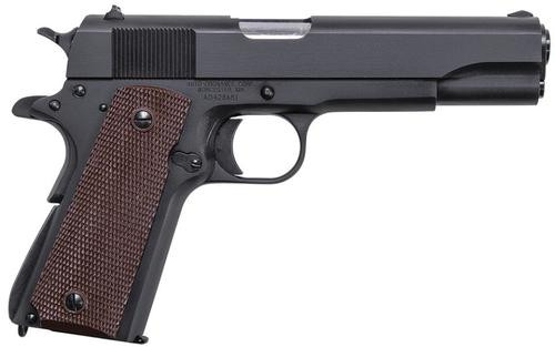 "Auto Ordnance 1911 Matte Black Single 45 ACP 5.0"" Barrel, Brown Checkered Grp Black, 7rd"
