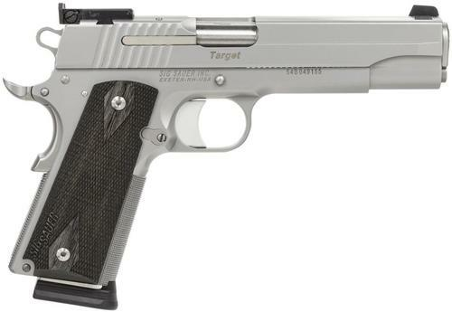 "Sig 1911 45 ACP, 5"" Barrel, Target Stainless Finish SAO Adjustable Sights Blackwood Grip (2) 8RD Steel MAG CA Compliant"