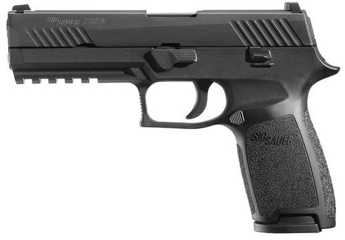 Sig P320 45 ACP 4.7In Nitron Black, Striker Contrast Sights Modular Polymer Grip (2) 10Rd Steel MAG Rail