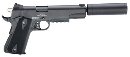 "American Tactical, 1911, Semi-automatic, 22 LR, 5"" Barrel, Blued, Polymer Grips, 10Rd, Threaded, Faux Suppressor"