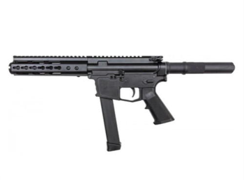 "ATI AR-15 Pistol 9MM HGA Billet 5.5"" Barrel, 7"" KM Handguard Flash CAN 31Rd Mag"
