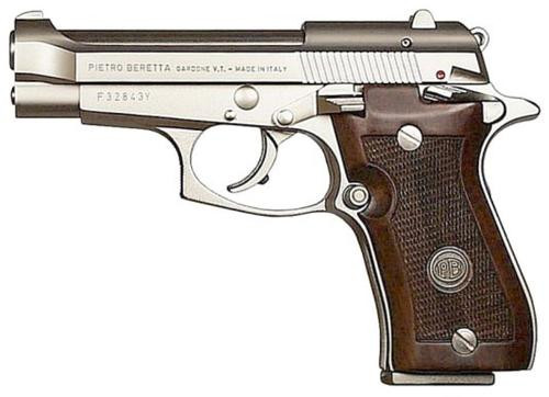 Beretta 85F .380 ACP, Double Action, Nickel, Wood Grips, 8rd