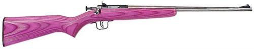 "Keystone Crickett SS Keystone 22LR, 16.12"", Pink Laminate, Stainless Steel"