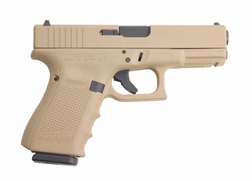 "Glock 19 Gen4 9mm, 15rd, 4"" Barrel, Desert Sand Hot Cerakote Finish 15 Rd Mag"