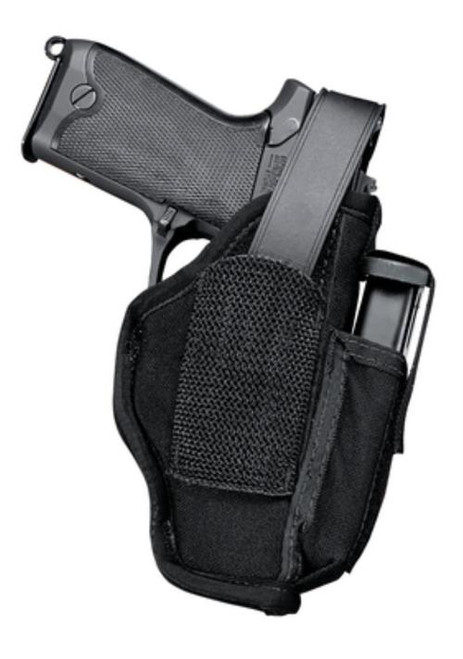 """Uncle Mike's Hip Holster, Mag Pouch, 4"""" Medium Revolver, Right Hand, Black Nylon"""