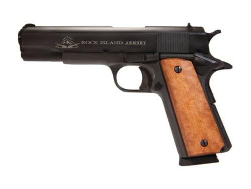 "Rock Island Armory 1911-A1 45 ACP 5"" Parkerized Fixed Sights 8 Round - MA Compliant"