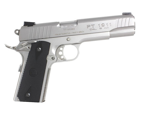 "Taurus Model 1911 9MM 5"" Barrel SS Finish, Novak Sights, 9 Round Mag"