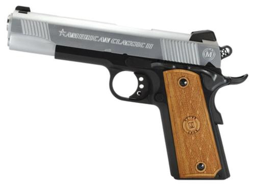 "American Classic Mil-Spec II1911 45 ACP 5"" Barrel Du-Tone Finish Checkered Hardwood Grip 8 Round Mag"