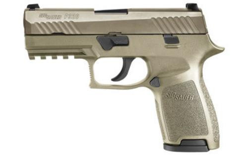 Sig P320 *D* 9mm 3.9In Flat Dark Earth Striker Siglite Modular Polymer Grip (2) 15Rd Steel MAG Rail