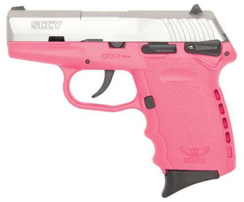 SCCY CPX-1 Two Tone 9mm Natural SS Slide, Pink Frame, 10 Round Manual Safety