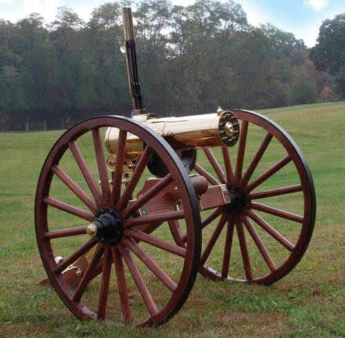 Colt 1877 Bulldog Gatling Gun Carriage 45-70 Government Caliber 10 Brass Encased Direct Drive Barrels Walnut Carriage