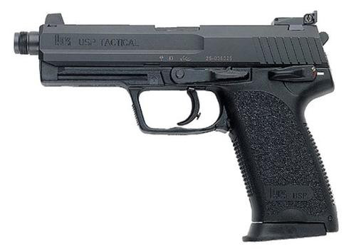 "HK USP Tactical, V1, DA/SA, Full Size, 45ACP, 5.09"" Threaded Barrel, Polymer Frame, Black, 3 Dot Sights, Safety/Decocker, 12Rd, 2 Magazines"