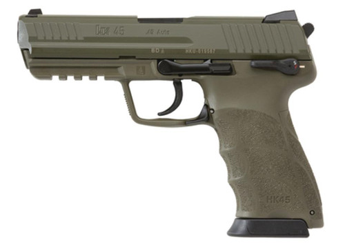 Heckler and Koch HK45 OD Green Finish Frame and Slide (V1) DA/SA safety/decocking lever on left with two 10rd mags
