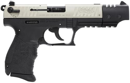 "Walther P22 Target .22 L.R. 5"" Barrel Nickel 10 Round, 2 Mags"