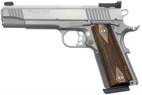 "Sig 1911 9MM, 5"" Barrel, Match Elite Stainless Finish SAO Adjustable Sights Blackwood Grip (2) 9RD Steel MAG"
