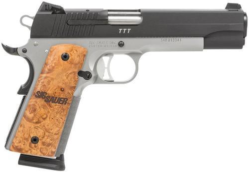 "Sig 1911 45 ACP, 5"" Barrel, TTT Reverse 2-Tone SAO Siglite Burled Maple Grip (2) 8RD Steel MAG MA Compliant"