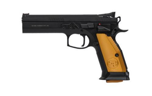 "CZ 75 Tactical Sport Orange 9mm, 5.23"" Barrel, Steel Frame, Black, Thin Alum Grips, Ambi Safety, Adj Target Sights, 2x20rd Mags"