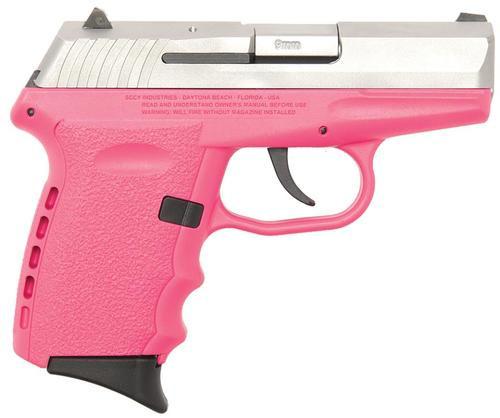 "SCCY CPX-2 Gen 2 DAO 9mm 3.1"" Barrel, Pink Poly Grip/Frame SS Slide No Safety, 10rd"