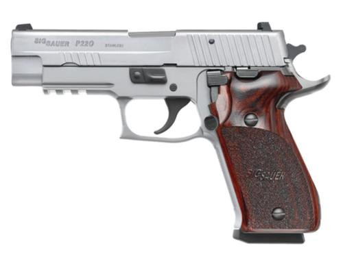 "Sig P220 Elite Stainless 45 ACP 4.4"" Barrel, Rosewood Grip SS, 8rd"