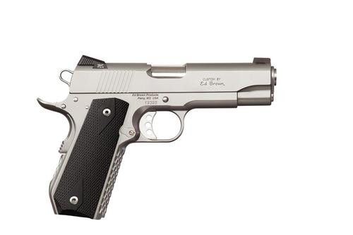 """Ed Brown Alpha Carry Single 45 ACP 4.2"""" Barrel, Black Grips Stainless Frame, 7rd"""