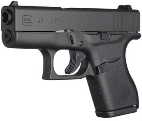 "Glock, 43, Semi-automatic, Striker Fired, Sub Compact, 9mm, 3.41"" Barrel, Polymer Frame, Matte Finish, Fixed Sights, 6Rd, 2 Magazines"