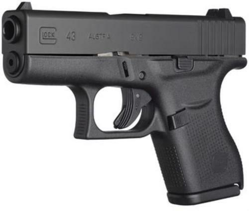 """Glock, 43 Striker Fired, Sub Compact, 9mm, 3.41"""" Barrel, Polymer Frame, Matte Finish, Fixed Sights, 6Rd, 2 Magazines"""