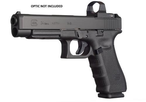"""Glock, 34 Gen4, Competition, Modular Optic System, Striker Fired, Full Size, 9mm, 5.31"""" Barrel, Polymer Frame, Matte Finish, Adjustable Sights, 17Rd, 3 Magazines"""