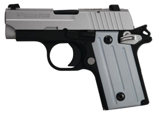 Sig P238 380 ACP 2.7In 2-Tone Black/Stainless SAO Siglite Polymer Grip (1) 6RD Steel MAG CA Compliant
