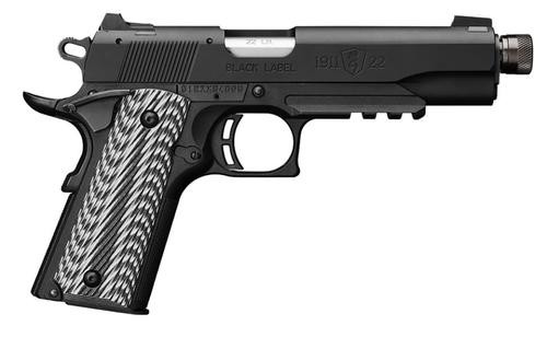 Browning 1911-22 Black G10 Grips 4.8' Threaded Barrel, Silerncer Ready