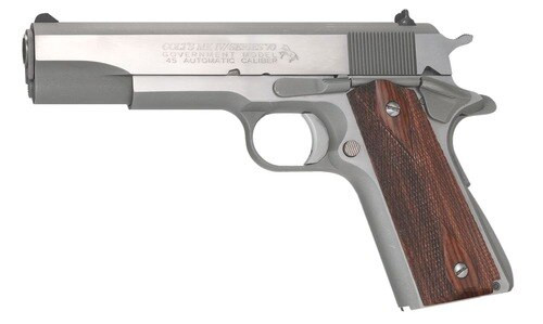 "Colt Series 70 Govt 1911 45 ACP 5"" Barrel, Double Diamond Rosewood Grip Brushed SS, 7rd"