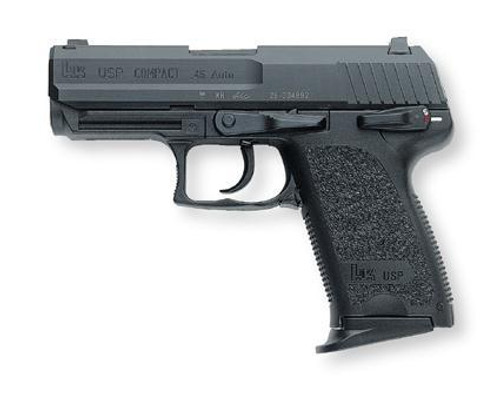HK USP45 Compact (V1) DA/SA, safety/decocking lever on left, three 8rd magazines and night sights
