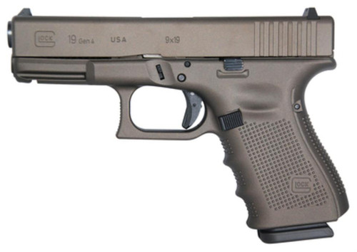 "Glock 19 Gen4 Tactical Bronze Cerakote 9mm 4"" Barrel USA Made 15rd Mag"