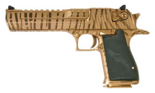 Magnum Research Desert Eagle, .50 AE, Titanium Gold, Tiger Stripes