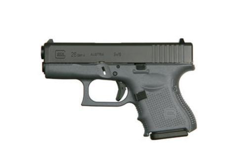"Glock G26 Gen4, 9mm, 3.46"",, , Gray Frame,  10 rd"