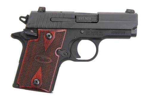 Sig P938 9MM 3IN Nitron Black SAO Siglite Rosewood Grip (1) 6RD Steel MAG Ambi Safety MA Compliant