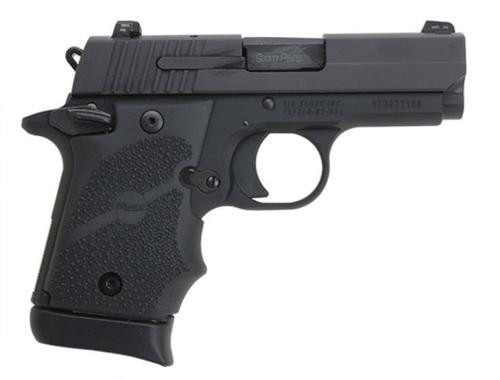 Sig P938 9MM 3IN Nitron Black SAO Siglite Black Rubber Grip (1) 7RD Steel MAG Ambi Safety