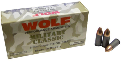 Wolf Military Classic 9mm, 115 Gr, FMJ, 500rd/Case