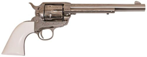 """Cimarron Firearms Frontier .45LCl 7.5"""" Barrel Nickel Finish PW Laser Engraved Poly Ivory Grip"""
