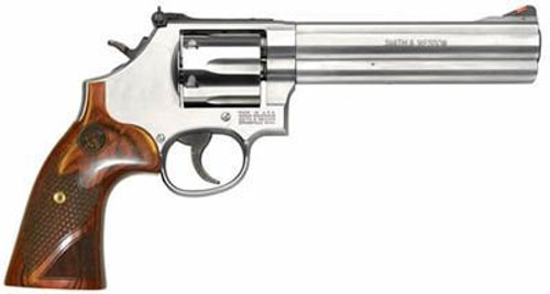 "Smith & Wesson 686 Plus Deluxe, 357 Mag/38 Spec, 6"" Barrel, Stainless Finish, Wood Grips, 7Rd, Adjustable Sights"
