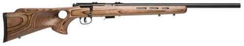 "Savage 93R17 BTV, 17HMR, 21"" Heavy Barrel, Blued, Brown Laminated Thumbhole Stock, 5Rd, Detachable Box Magazine"