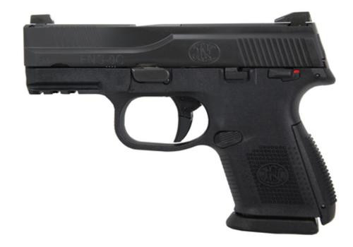 """FN America FNS-9C, 9mm, 3.6"""" Barrel, Polymer Frame, Black, Night Sights, 2-12Rd & 1-17Rd, Manual Safety, Compact Size, Fired Case"""