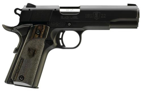 """Browning 1911-22 A1 Black Label Laminate 22LR 4.25"""" Barrel Composite Frame Black Laminated Grips 10 Rd Mag"""