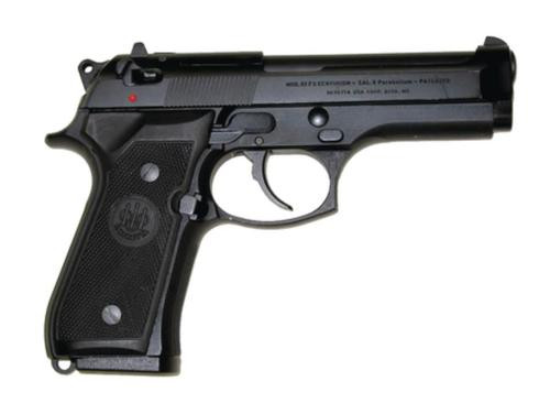 "Beretta 92FS, DA/SA, Full Size, 9mm, 4.9"" Barrel, Alloy Frame, Blue Finish, Plastic Grips, 3 Dot Sights, Ambidextrous Safety, 2 Magazines, 10Rd"